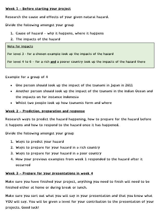 natural hazards homework instructions