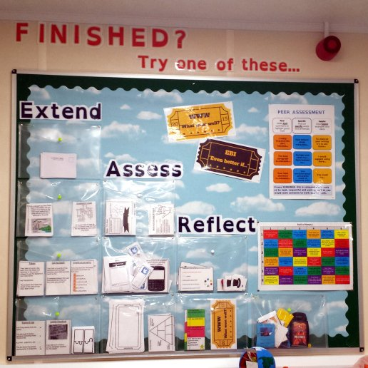 finished extend assess reflect - plenary display board