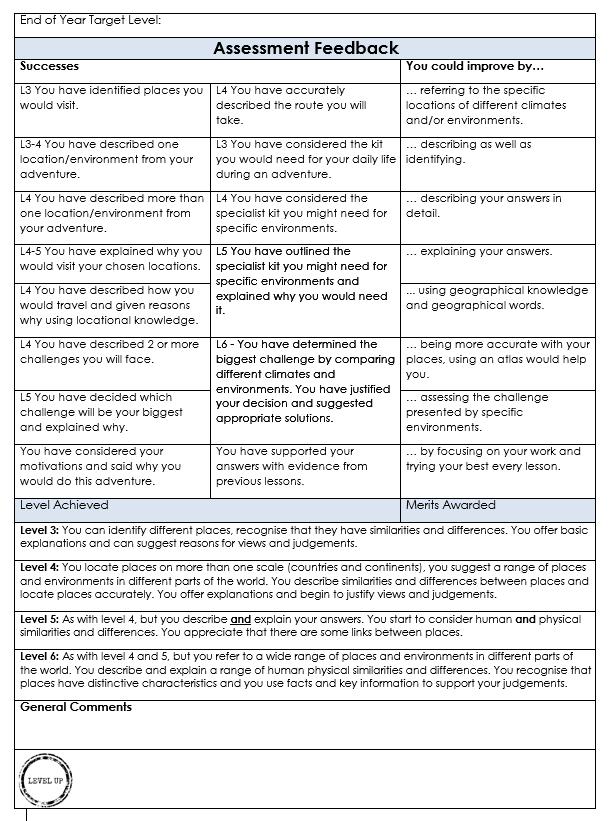 LA assessment feedback