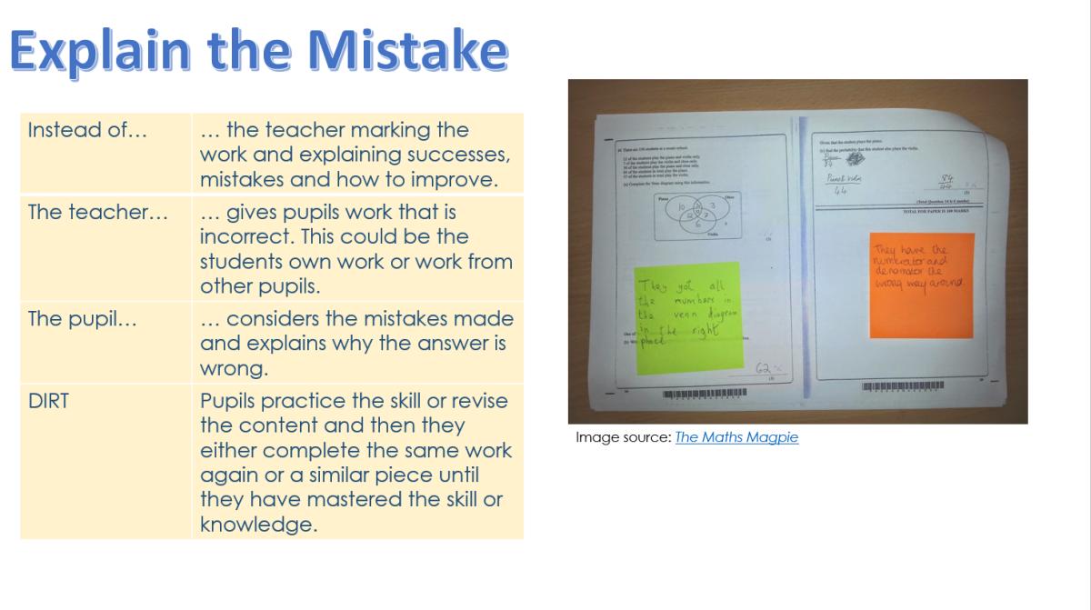explain the mistake marking DIRT