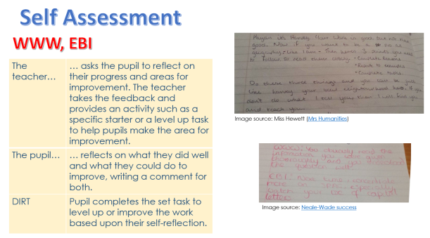 self assessment WWW and EBI marking and DIRT