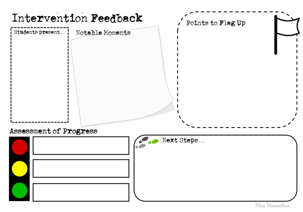 intervention feedback sheet