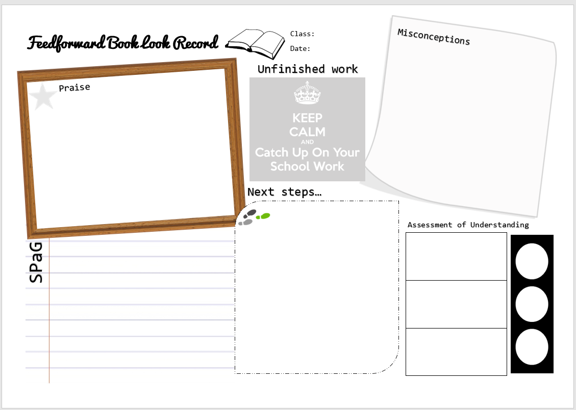 Feedforward Book Look Record DIRT Marking and Feedback