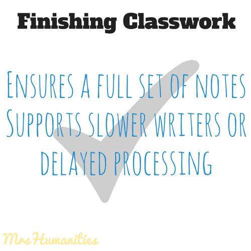 finishing classwork