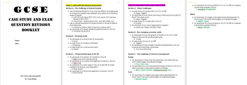 gcse revision first pages