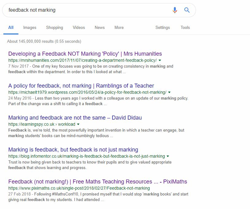 feedback not marking google search